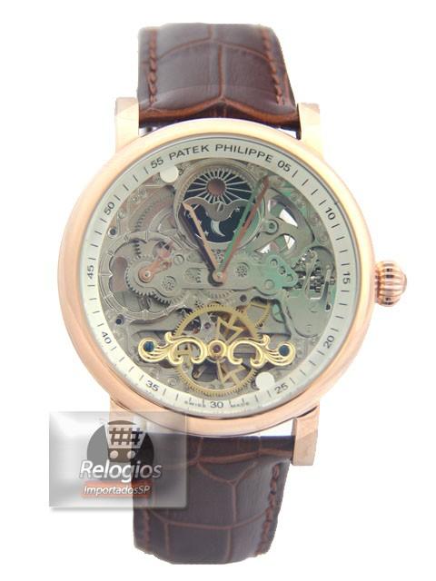 Relógio Réplica Patek Philippe Esquelete Marrom