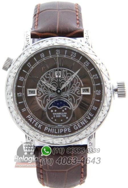 Relógio Réplica Patek Philippe Geneve Prata Marrom