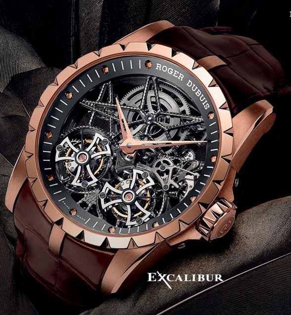a7164ad0108 Relógio Réplica Roger Dubuis Excalibur Esquelete Rose Branco