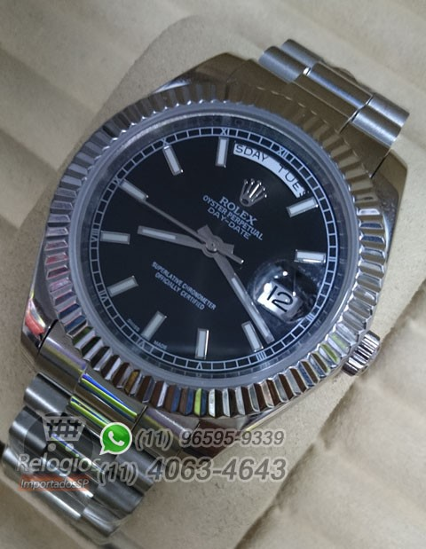 Relógio Réplica Rolex Day Date Prata Preto